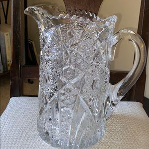 Vintage Early American Prescut Glass Pitcher